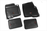 2009-2014 F150 SuperCrew Rugged Ridge Front & Rear Floor Liners 4-Piece (Black)