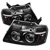 2004-2008 F150 Spyder LED Version 2 Projector Headlights w/ LED Halos (Black)