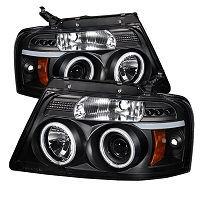 2004-2008 F150 Spyder LED Projector Headlights w/ CCFL Halos (Black)