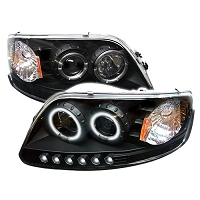 1997-2003 F150 Spyder LED Projector Headlights w/ CCFL Halos (Black)