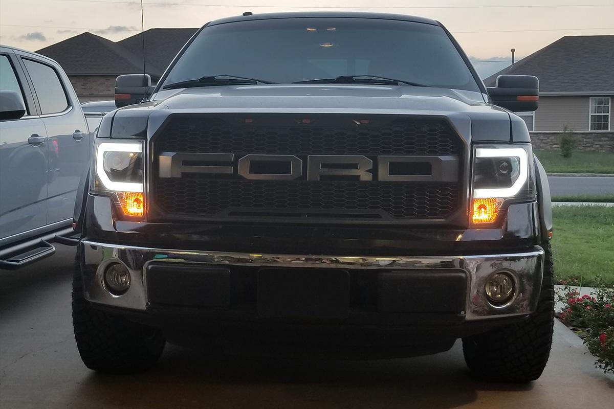 2014 F150 Headlights >> 2009-2014 F150 & Raptor Spyder Projector Headlights w/ DRL Light Bar (Black) SL5077646