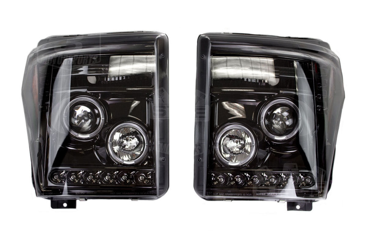 01 F250 Headlights >> 2011-2016 Super Duty Recon Smoked Projector Headlights LED ...