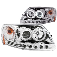 1997-2003 F150 ANZO Projector Headlights CCFL Halo LED (Chrome, Clear)