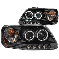 1997-2003 F150 ANZO Projector Headlights Halo LED (Black)