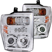2008-2010 F250 & F350 ANZO Halo Projector Headlights (Chrome/Clear)