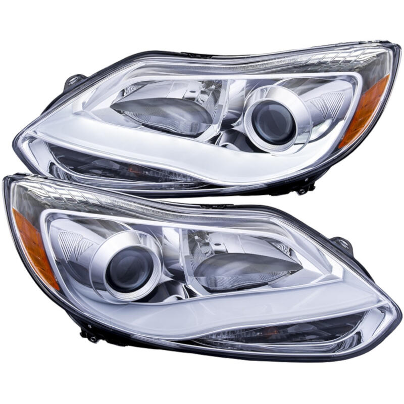 2012-2014 Ford Focus / Focus ST ANZO Plank Style Projector Headlights (Chrome)