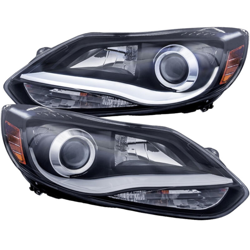 2012-2014 Ford Focus / Focus ST ANZO Plank Style Projector Headlights (Black)