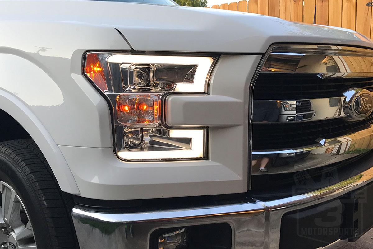 2015 2017 F150 Spyder Led Light Bar Projector Headlights