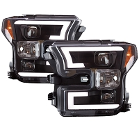 2015-2017 F150 Spyder LED Light Bar Projector Headlights (Black)