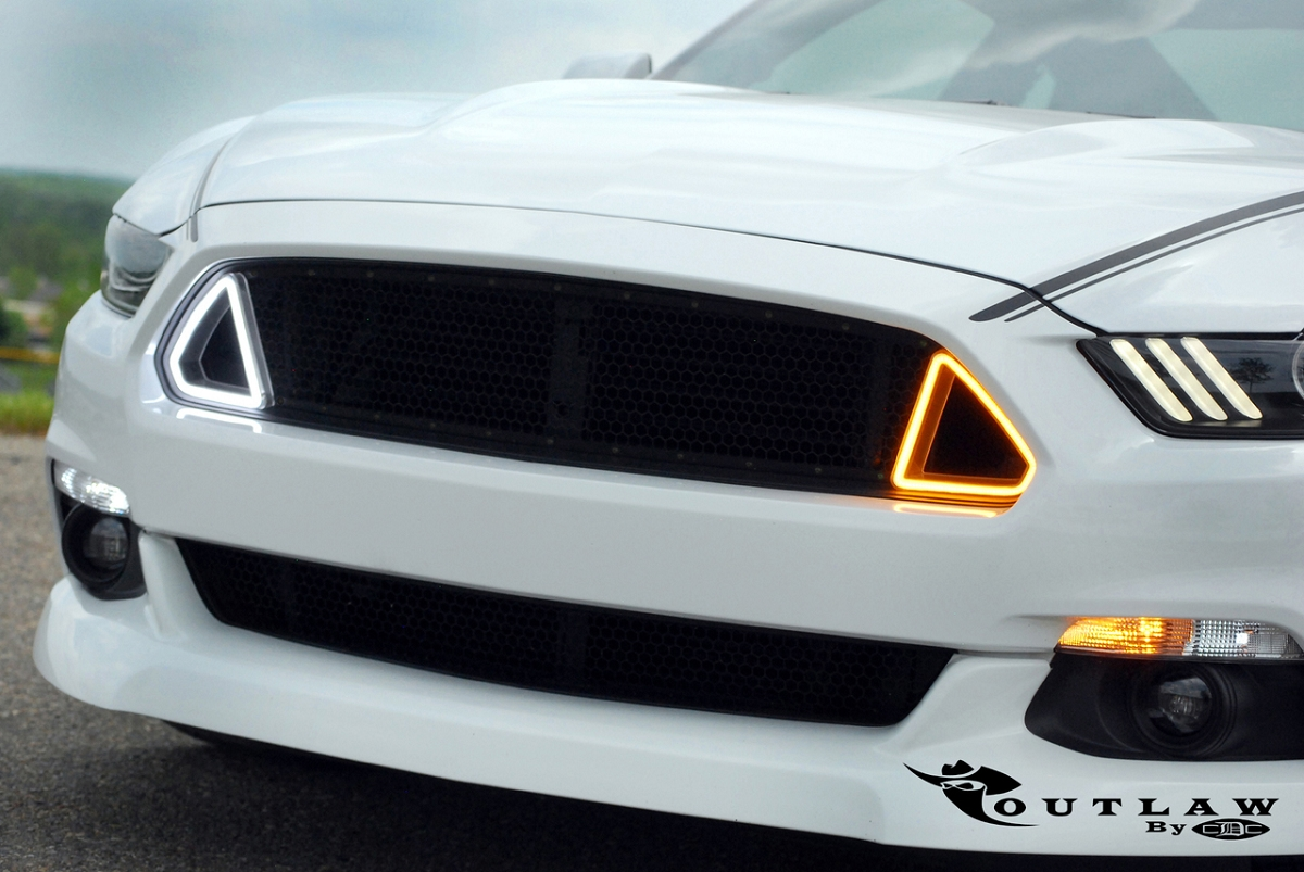 2018 Mustang Roush Stage 3 >> 2015-2017 Mustang CDC Outlaw Switchback Upper Grille w/ DRL Lights 1511-7015-01
