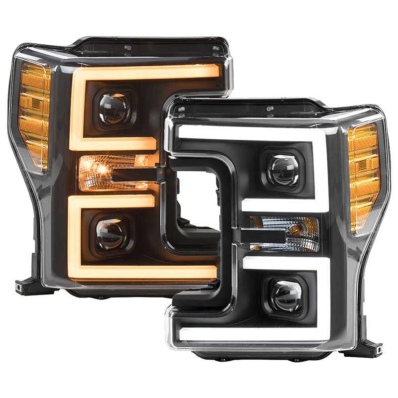 2017-2019 F250 & F350 ANZO LED Switchback Outline Projector Headlights (Black Housings)