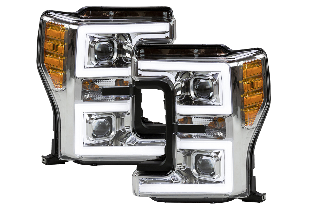 2012 F250 Headlights >> 2017-2019 F250 & F350 ANZO LED Switchback Outline Projector Headlights (Chrome Housings) 111389
