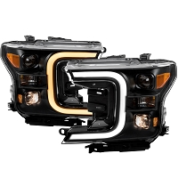 2018-2019 F150 ANZO Plank Style Switchback Projector Headlights (Black Housings)