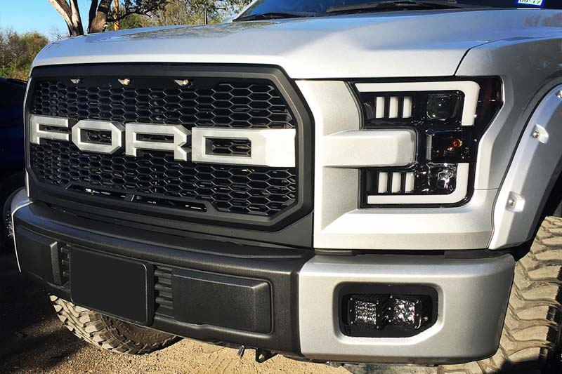 2015 2017 f150 recon led outline smoked projector headlights 264290bkc. Black Bedroom Furniture Sets. Home Design Ideas