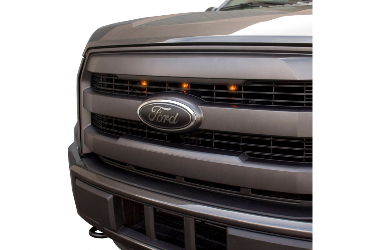 15-17 F150 Lariat Custom Auto Works Raptor-Style LED Amber Grille Lights