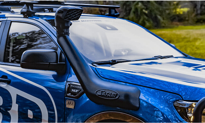 The Safari VSPEC Snorkel installed onto ARB's blue 2019 Ford Ranger Project Truck