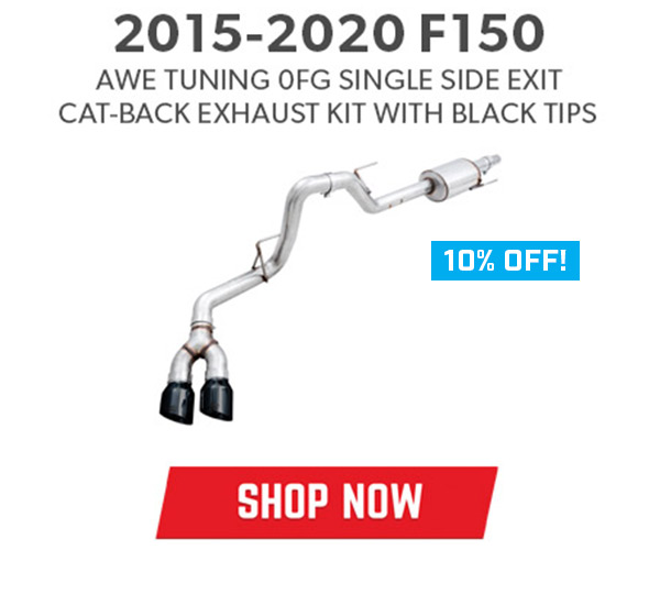 2015-2020 F150 AWE Tuning 0FG Single Side Exit Cat-Back Exhaust Kit with Black Tips