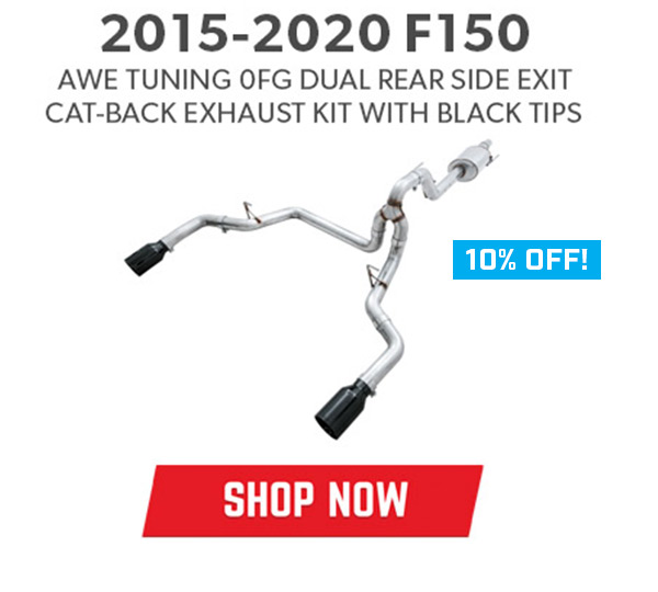 2015-2020 F150 AWE Tuning 0FG Dual Rear Side Exit Cat-Back Exhaust Kit with Black Tips