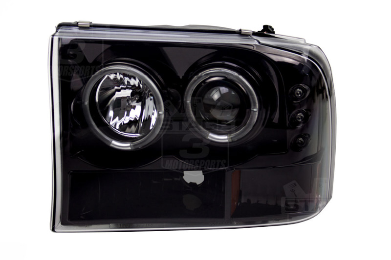 1999 2004 F250 F350 Super Duty Recon Smoked Projector Headlights W Ford F 250 Light Bulbs Tap To Expand