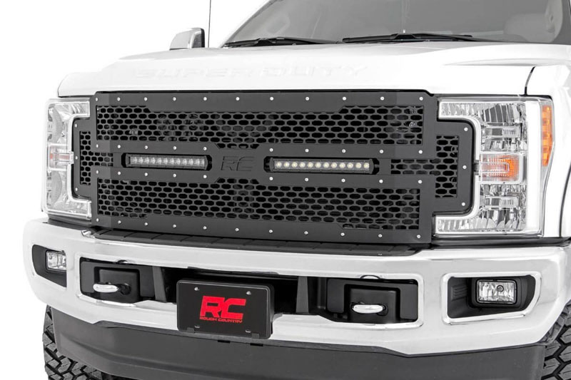2017-2019 F250 & F350 Rough Country Mesh Grille With Dual ...