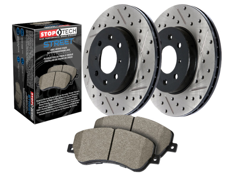 2010-2012 F250 & F350 4WD StopTech Street Axle-Pack Front Drilled & Slotted Brake Kit
