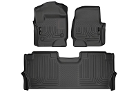 2017-2019 F250 & F350 SuperCab Husky WeatherBeater Front Floor Mats - For Models With Factory Storage Box