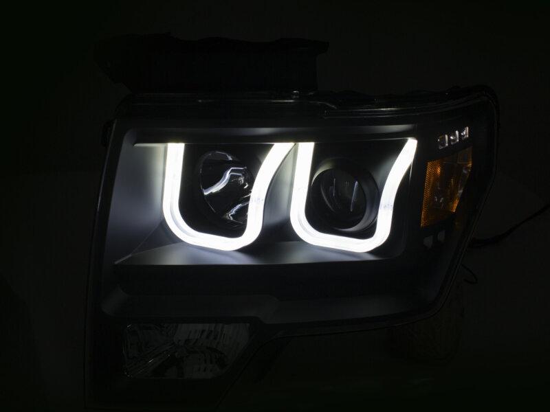 2003 Ford F150 Headlights >> 2009-2014 F150 ANZO Switchback U-Bar Projector Headlights ...