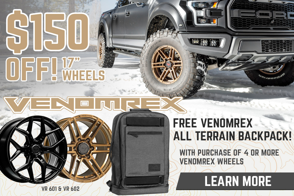 Venomrex Double Deal! $150 Off Any Four 17x9in Wheels and a Free Venomrex Backpack with Purchase of Any Four Wheels!