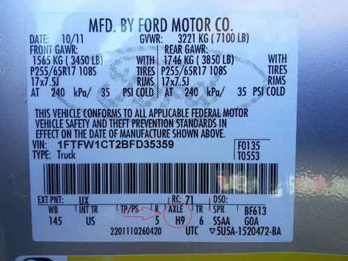 F150 Axle Ratio Code Location