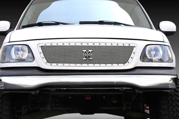 rex  metal series studded front grille polished ss