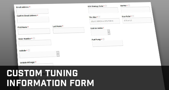 Stage 3's Custom Tuning Information Form