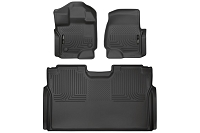 2015-2019 F150 & Raptor SuperCrew Husky Liners WeatherBeater Complete Front & Rear Floor Liners (Black)