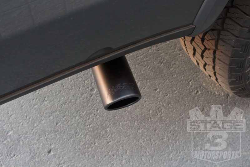 MBRP 3-Inch Inlet 3-1/2 Inch Outlet Rolled Black Exhaust Tip Installed