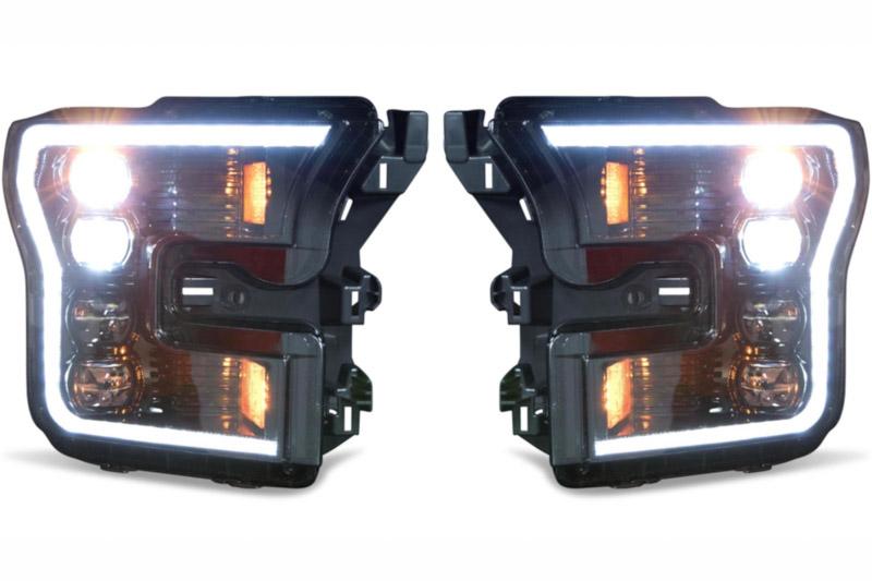 raptor morimoto xb led headlights white outline lf