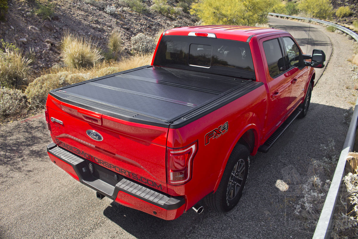Stage 3's 2015 F150 EcoBoost Project Truck with BAKFlip G2 Tonneau Installed