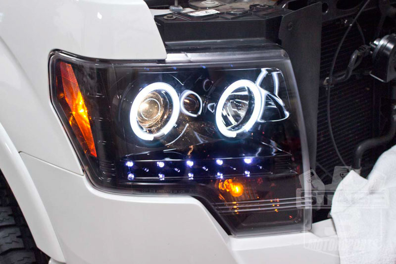 2009-2014 F150 Recon Smoked Projector Halo Headlights