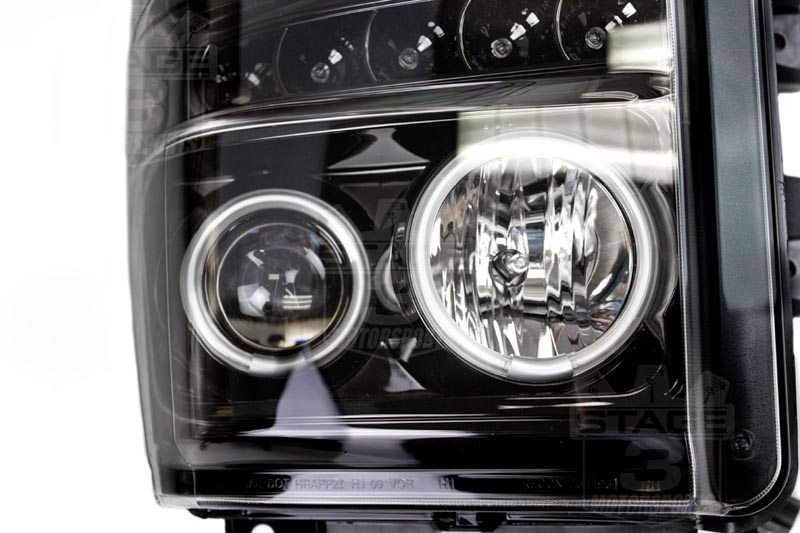 2008 2010 F250 & F350 Recon Projector Headlights Black