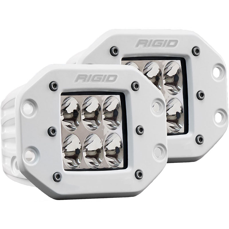Rigid Industries D-Series Pro Flush Mounted White Driving Beam Lights (White Housing)