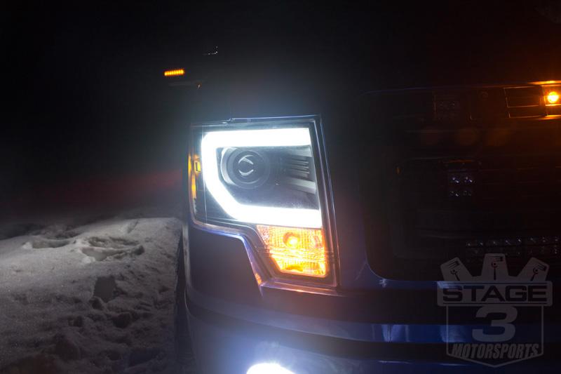 2009-2014 F150 & Raptor Spyder Projector Headlights w/ DRL Light Bar (Black)