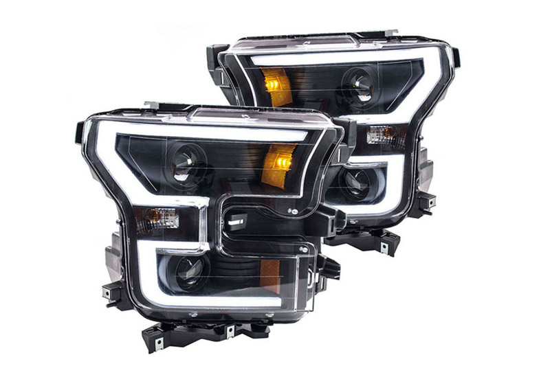 2015-2017 F150 ANZO LED Outline Projector Headlights (Black Housings)