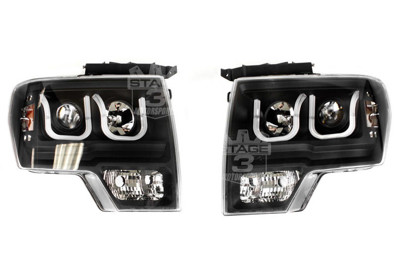 2009-2014 F150 ANZO Smoked U-Bar Projector Headlights