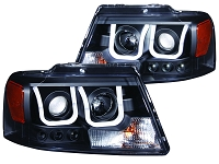 2004-2008 F150 ANZO U-Bar Projector Headlights (Black)