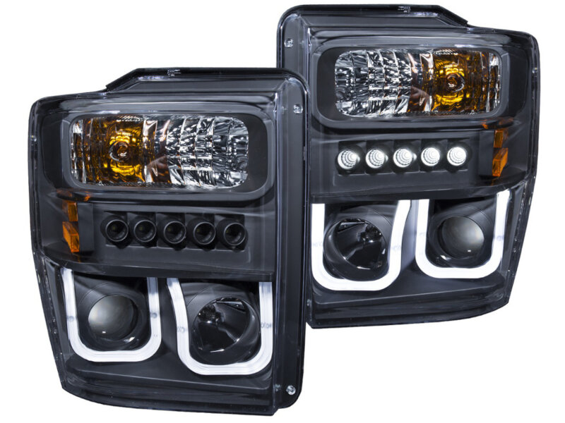 08-10 F250 & F350 ANZO U-Bar Projector Headlights CCFL (Black/Clear)
