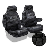 2013-2014 F150 CoverKing Ballistic A-TACS Law Enforcement Camo Front Seat Covers (Black)