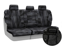 2011-2012 F150 CoverKing Ballistic A-TACS Law Enforcement Camo Rear Seat Covers (Black)