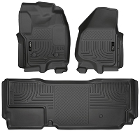 2012-2016 F250 & F250 Crew Cab Husky WeatherBeater Front & Rear Floor Mats (Black)