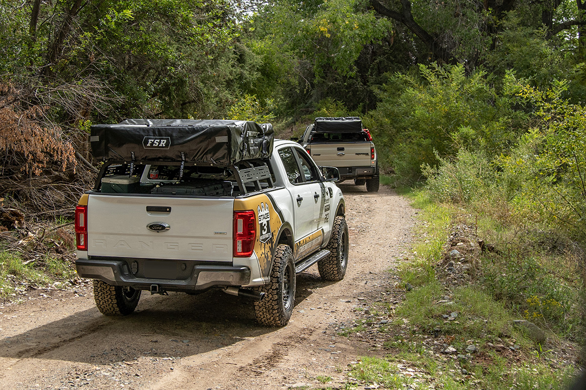 Rear view of Stage 3 Motorsports' 2019 Ford Ranger equipped with a bed rack and tent in Northern Arizona!