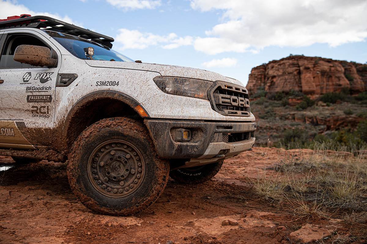 Close up of Stage 3 Motorsports' 2019 Ford Ranger 4WD Build muddy and off-road in Sedona, Arizona