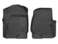 2017-2019 F250 & F350 Husky WeatherBeater Front Floor Mats - For Factory Vinyl Flooring (Black)