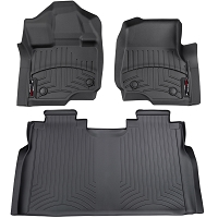 2015-2019 F150 SuperCrew with Front Bench WeatherTech Digital Fit Black Front & Rear Floor Mats (No Hump)